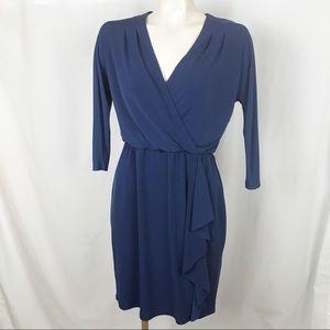 WHBM faux wrap ruffle surplice dress